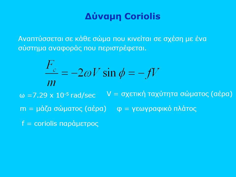 Δύναμη Coriolis Αναπτύσσεται σε κάθε σώμα που κινείται σε σχέση με ένα σύστημα αναφοράς που περιστρέφεται. ω =7.29 x 10 -5 rad/sec V = σχετική ταχύτητ