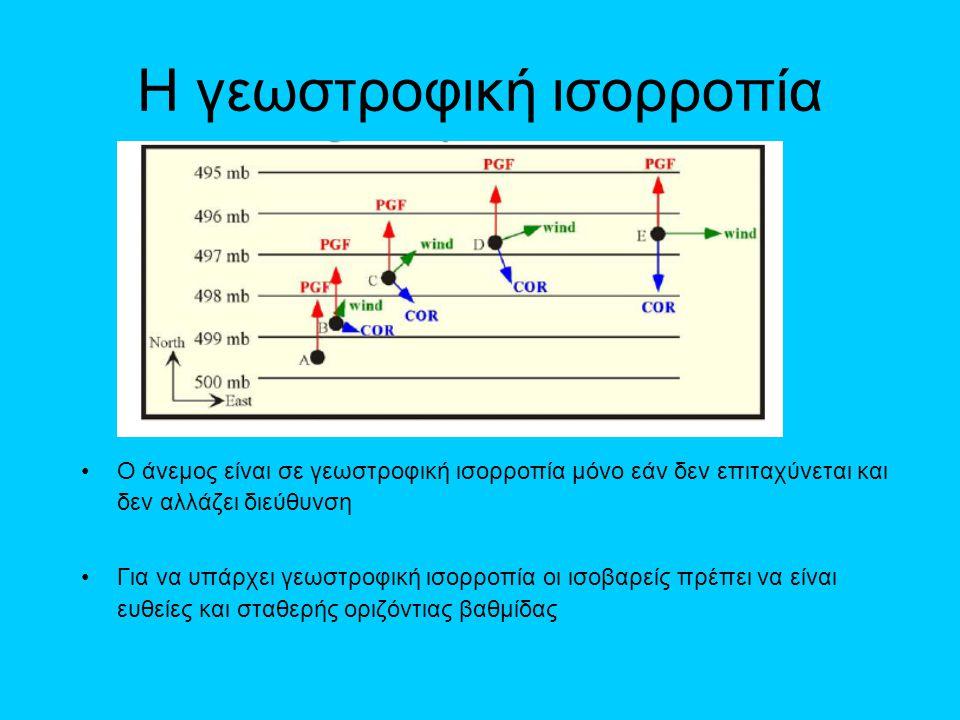 Η γεωστροφική ισορροπία •Ο άνεμος είναι σε γεωστροφική ισορροπία μόνο εάν δεν επιταχύνεται και δεν αλλάζει διεύθυνση •Για να υπάρχει γεωστροφική ισορρ