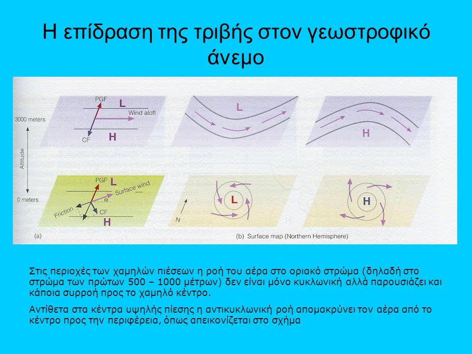 Η επίδραση της τριβής στον γεωστροφικό άνεμο Στις περιοχές των χαμηλών πιέσεων η ροή του αέρα στο οριακό στρώμα (δηλαδή στο στρώμα των πρώτων 500 – 10