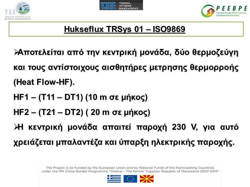 Hukseflux TRSys 01 – ISO9869  Αποτελείται από την κεντρική μονάδα, δύο θερμοζεύγη και τους αντίστοιχους αισθητήρες μετρησης θερμορροής (Heat Flow-HF)