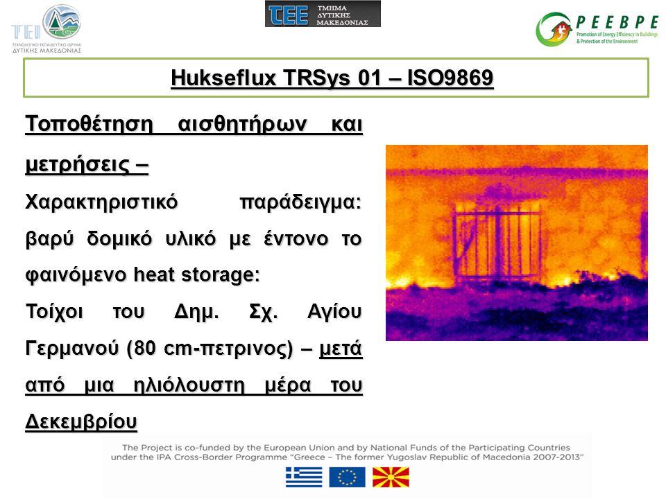 Τοποθέτηση αισθητήρων και μετρήσεις – Χαρακτηριστικό παράδειγμα: βαρύ δομικό υλικό με έντονο το φαινόμενο heat storage: Τοίχοι του Δημ. Σχ. Αγίου Γερμ