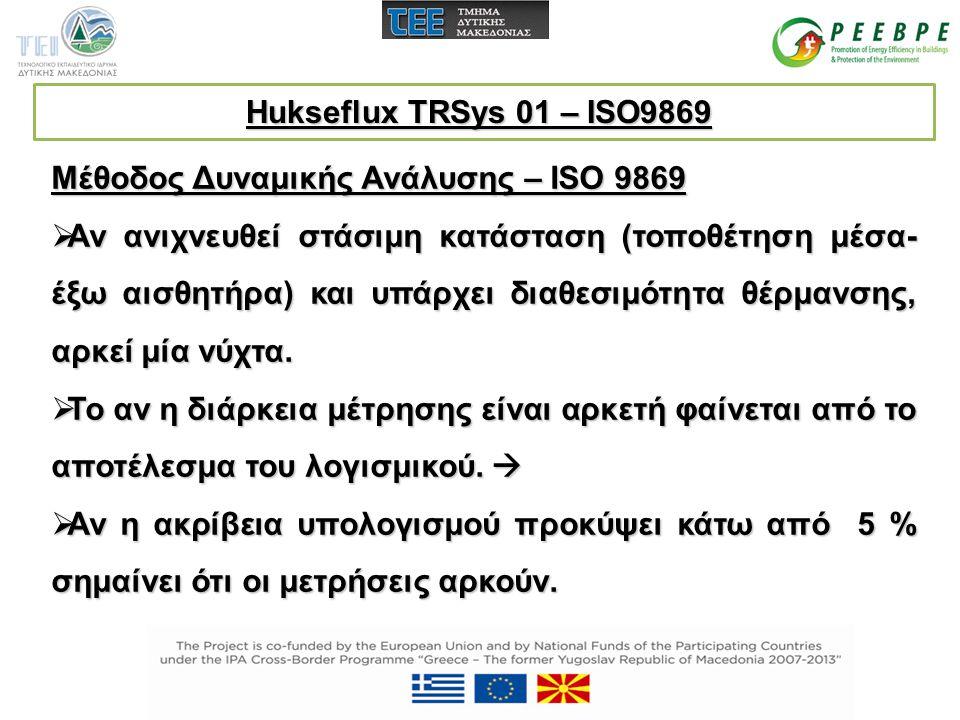 Μέθοδος Δυναμικής Ανάλυσης – ISO 9869  Αν ανιχνευθεί στάσιμη κατάσταση (τοποθέτηση μέσα- έξω αισθητήρα) και υπάρχει διαθεσιμότητα θέρμανσης, αρκεί μί
