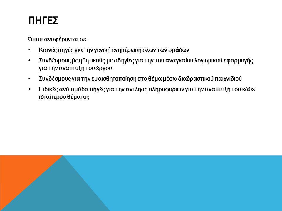 ΠΗΓΕΣ Όπου αναφέρονται σε: • Κοινές πηγές για την γενική ενημέρωση όλων των ομάδων • Συνδέσμους βοηθητικούς με οδηγίες για την του αναγκαίου λογισμικο