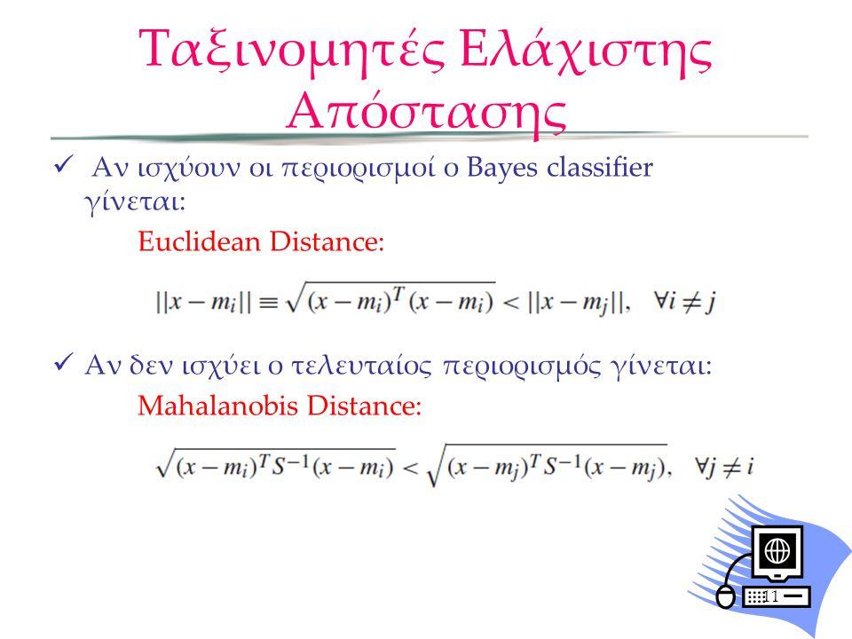 11  Αν ισχύουν οι περιορισμοί ο Βayes classifier γίνεται: Euclidean Distance:  Αν δεν ισχύει ο τελευταίος περιορισμός γίνεται: Mahalanobis Distance: Ταξινομητές Ελάχιστης Απόστασης