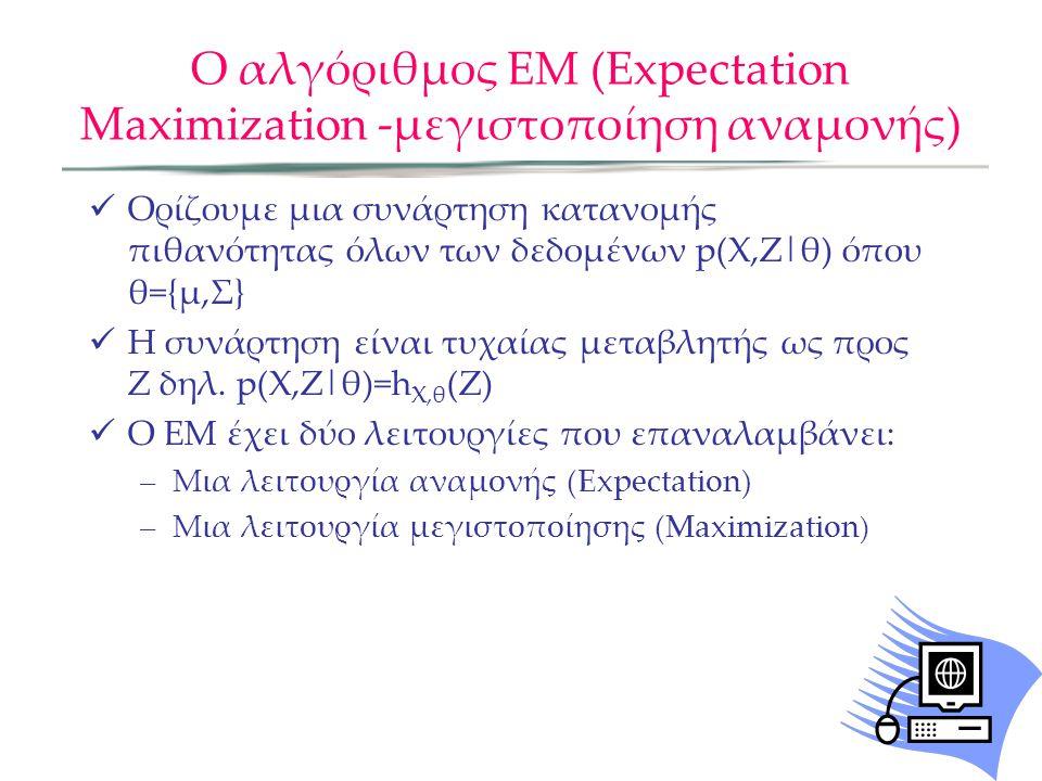 Ο αλγόριθμος ΕΜ (Expectation Maximization -μεγιστοποίηση αναμονής)  Ορίζουμε μια συνάρτηση κατανομής πιθανότητας όλων των δεδομένων p(X,Z|θ) όπου θ={μ,Σ}  Η συνάρτηση είναι τυχαίας μεταβλητής ως προς Ζ δηλ.