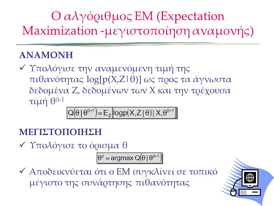 Ο αλγόριθμος ΕΜ (Expectation Maximization -μεγιστοποίηση αναμονής) ANAMONH  Υπολόγισε την αναμενόμενη τιμή της πιθανότητας log[p(X,Z|θ)] ως προς τα άγνωστα δεδομένα Ζ, δεδομένων των Χ και την τρέχουσα τιμή θ (i-1 ΜΕΓΙΣΤΟΠΟΙΗΣΗ  Υπολόγισε το όρισμα θ  Αποδεικνύεται ότι ο ΕΜ συγκλίνει σε τοπικό μέγιστο της συνάρτησης πιθανότητας