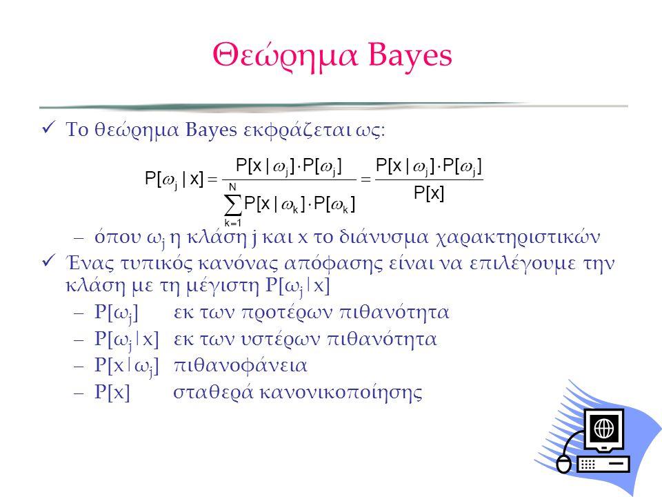 Θεώρημα Bayes  Tο θεώρημα Bayes εκφράζεται ως: –όπου ω j η κλάση j και x το διάνυσμα χαρακτηριστικών  Ένας τυπικός κανόνας απόφασης είναι να επιλέγουμε την κλάση με τη μέγιστη P[ω j |x] –P[ω j ]εκ των προτέρων πιθανότητα –P[ω j |x]εκ των υστέρων πιθανότητα –P[x|ω j ]πιθανοφάνεια –P[x]σταθερά κανονικοποίησης