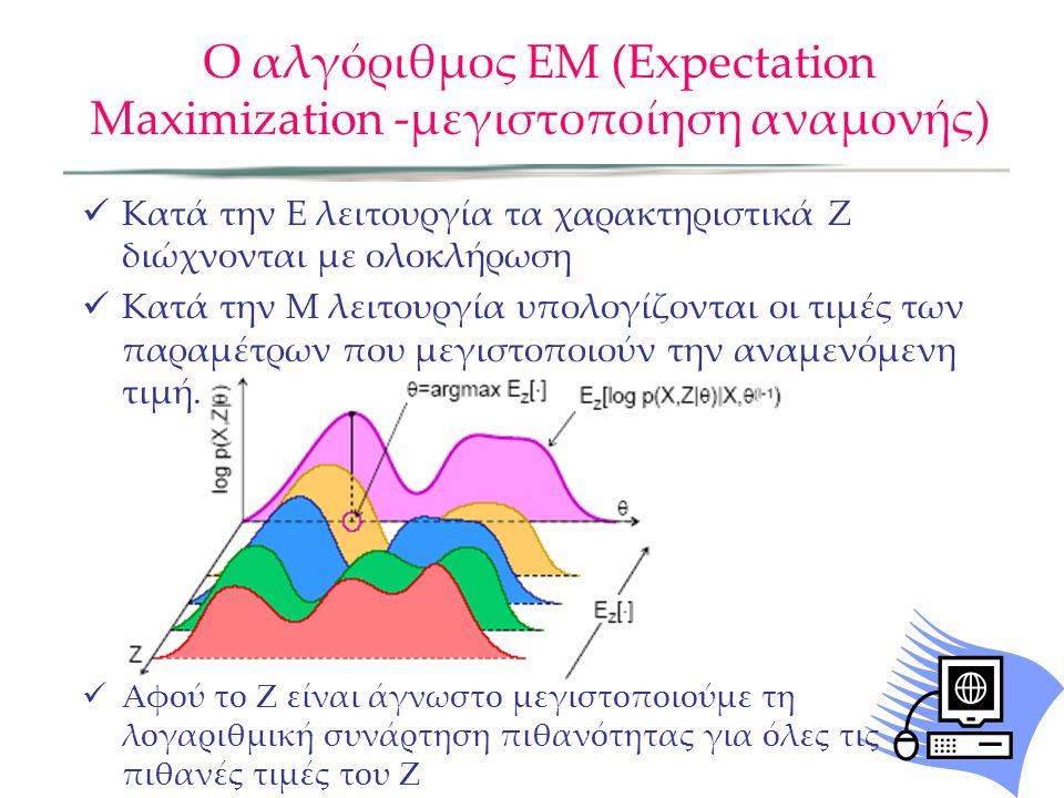 Ο αλγόριθμος ΕΜ (Expectation Maximization -μεγιστοποίηση αναμονής)  Κατά την Ε λειτουργία τα χαρακτηριστικά Ζ διώχνονται με ολοκλήρωση  Κατά την Μ λειτουργία υπολογίζονται οι τιμές των παραμέτρων που μεγιστοποιούν την αναμενόμενη τιμή.