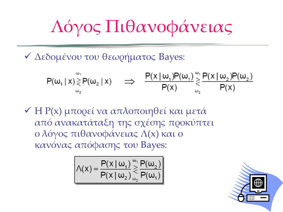 Λόγος Πιθανοφάνειας  Δεδομένου του θεωρήματος Bayes:  H P(x) μπορεί να απλοποιηθεί και μετά από ανακατάταξη της σχέσης προκύπτει ο λόγος πιθανοφάνειας Λ(x) και ο κανόνας απόφασης του Bayes: 