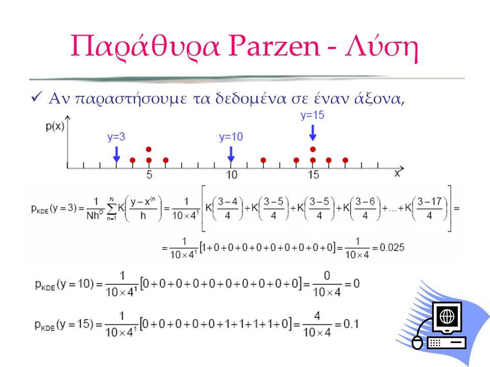 Παράθυρα Parzen - Λύση  Αν παραστήσουμε τα δεδομένα σε έναν άξονα, έχουμε: