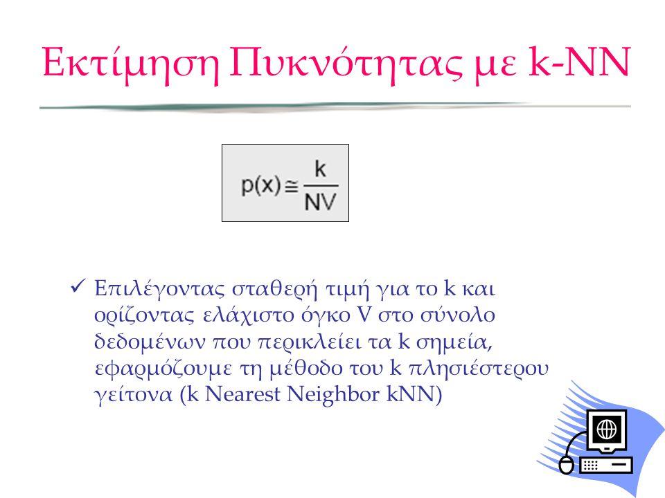 Εκτίμηση Πυκνότητας με k-NN  Επιλέγοντας σταθερή τιμή για το k και ορίζοντας ελάχιστο όγκο V στο σύνολο δεδομένων που περικλείει τα k σημεία, εφαρμόζουμε τη μέθοδο του k πλησιέστερου γείτονα (k Nearest Neighbor kNN)