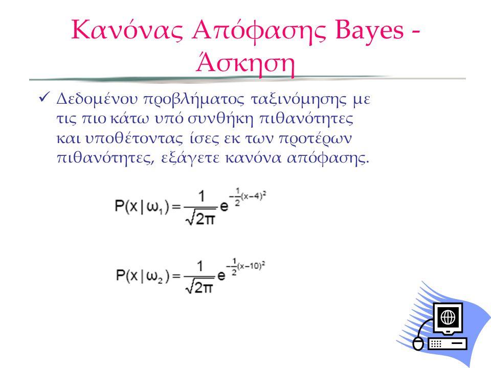 Κανόνας Απόφασης Bayes - Άσκηση  Δεδομένου προβλήματος ταξινόμησης με τις πιο κάτω υπό συνθήκη πιθανότητες και υποθέτοντας ίσες εκ των προτέρων πιθανότητες, εξάγετε κανόνα απόφασης.