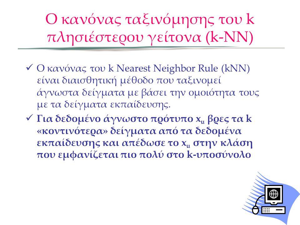 Ο κανόνας ταξινόμησης του k πλησιέστερου γείτονα (k-NN)  Ο κανόνας του k Nearest Neighbor Rule (kNN) είναι διαισθητική μέθοδο που ταξινομεί άγνωστα δείγματα με βάσει την ομοιότητα τους με τα δείγματα εκπαίδευσης.