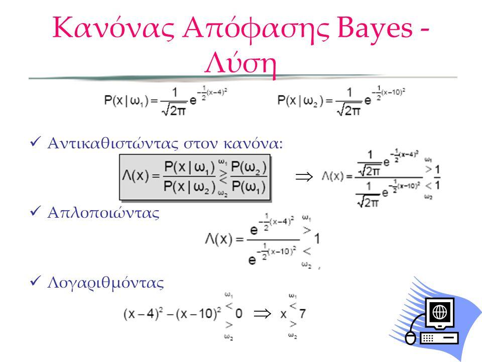 Κανόνας Απόφασης Bayes - Λύση  Αντικαθιστώντας στον κανόνα:  Απλοποιώντας  Λογαριθμόντας  