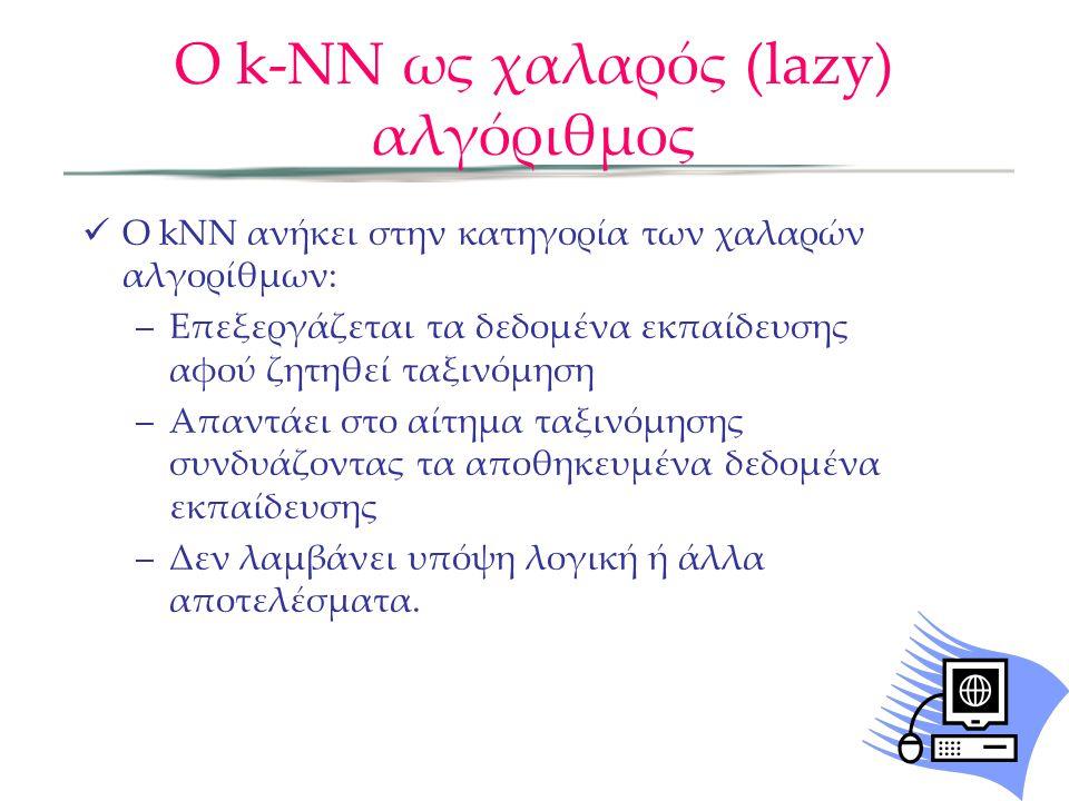 O k-NN ως χαλαρός (lazy) αλγόριθμος  Ο kNN ανήκει στην κατηγορία των χαλαρών αλγορίθμων: –Επεξεργάζεται τα δεδομένα εκπαίδευσης αφού ζητηθεί ταξινόμηση –Απαντάει στο αίτημα ταξινόμησης συνδυάζοντας τα αποθηκευμένα δεδομένα εκπαίδευσης –Δεν λαμβάνει υπόψη λογική ή άλλα αποτελέσματα.