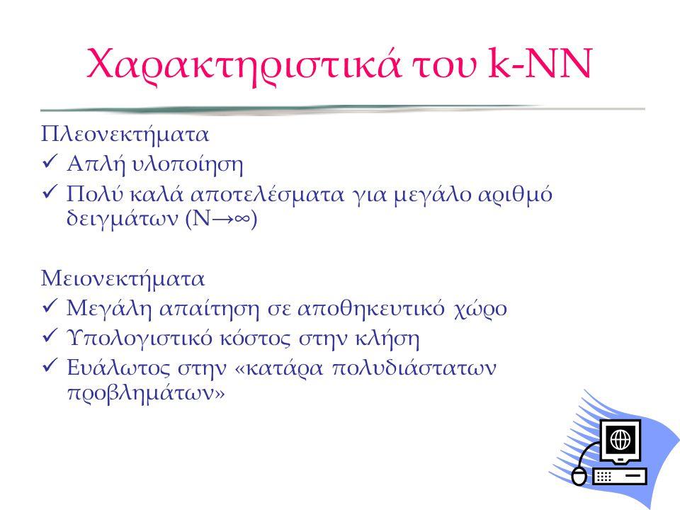 Χαρακτηριστικά του k-NN Πλεονεκτήματα  Απλή υλοποίηση  Πολύ καλά αποτελέσματα για μεγάλο αριθμό δειγμάτων (N → ∞) Μειονεκτήματα  Μεγάλη απαίτηση σε αποθηκευτικό χώρο  Υπολογιστικό κόστος στην κλήση  Ευάλωτος στην «κατάρα πολυδιάστατων προβλημάτων»