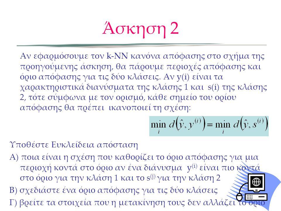 Άσκηση 2 Αν εφαρμόσουμε τον k-NN κανόνα απόφασης στο σχήμα της προηγούμενης άσκηση, θα πάρουμε περιοχές απόφασης και όριο απόφασης για τις δύο κλάσεις.