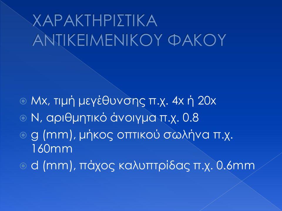  Μx, τιμή μεγέθυνσης π.χ. 4x ή 20x  Ν, αριθμητικό άνοιγμα π.χ. 0.8  g (mm), μήκος οπτικού σωλήνα π.χ. 160mm  d (mm), πάχος καλυπτρίδας π.χ. 0.6mm