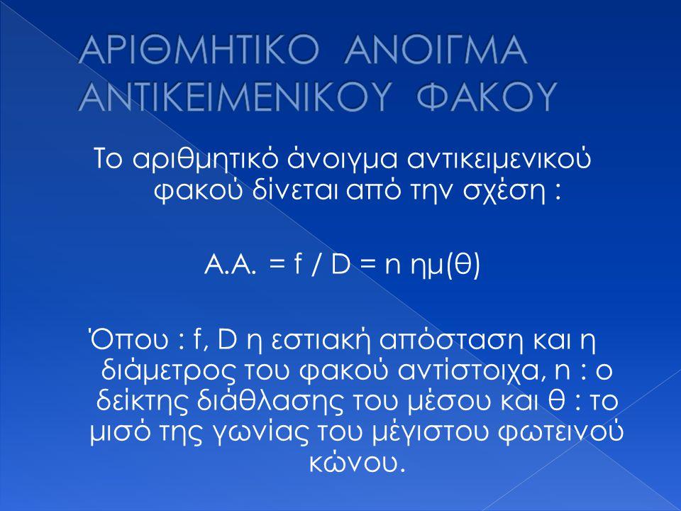 Το αριθμητικό άνοιγμα αντικειμενικού φακού δίνεται από την σχέση : Α.Α. = f / D = n ημ(θ) Όπου : f, D η εστιακή απόσταση και η διάμετρος του φακού αντ