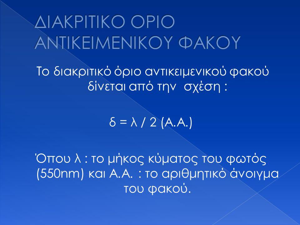 Το διακριτικό όριο αντικειμενικού φακού δίνεται από την σχέση : δ = λ / 2 (Α.Α.) Όπου λ : το μήκος κύματος του φωτός (550nm) και Α.Α. : το αριθμητικό