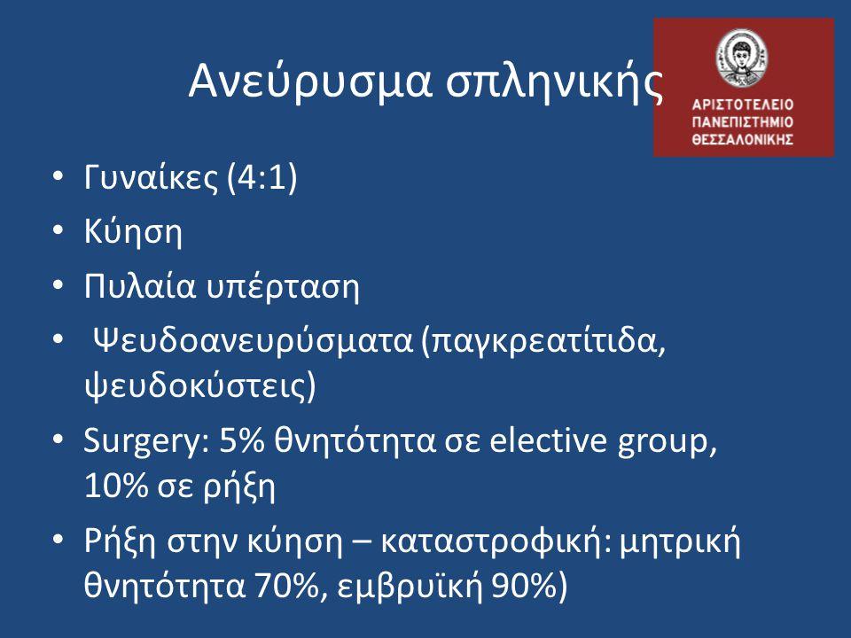 Ανεύρυσμα σπληνικής • Γυναίκες (4:1) • Κύηση • Πυλαία υπέρταση • Ψευδοανευρύσματα (παγκρεατίτιδα, ψευδοκύστεις) • Surgery: 5% θνητότητα σε elective gr
