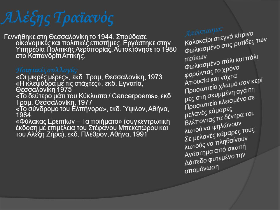 Αλέξης Τραϊανός Γεννήθηκε στη Θεσσαλονίκη το 1944. Σπούδασε οικονομικές και πολιτικές επιστήμες. Εργάστηκε στην Υπηρεσία Πολιτικής Αεροπορίας. Αυτοκτό