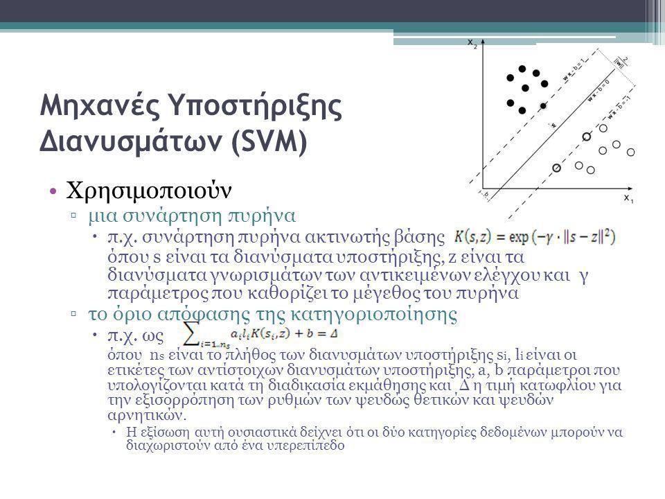 •Χρησιμοποιούν ▫μια συνάρτηση πυρήνα  π.χ.