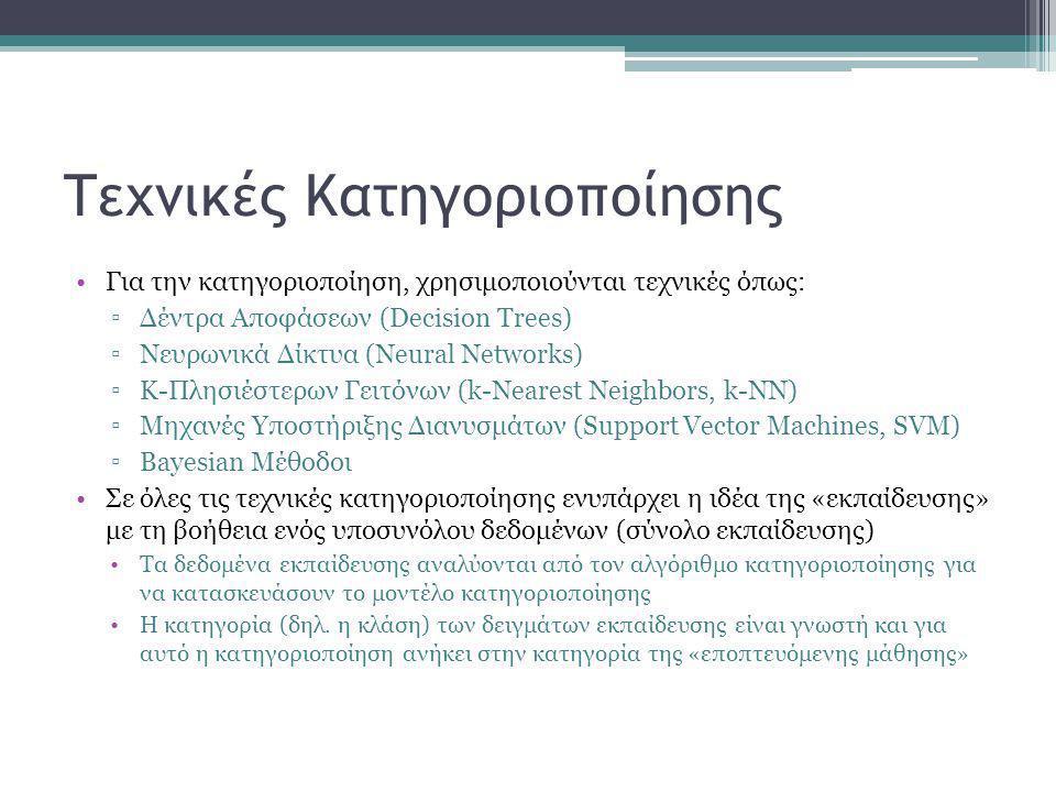 Τεχνικές Κατηγοριοποίησης •Για την κατηγοριοποίηση, χρησιμοποιούνται τεχνικές όπως: ▫Δέντρα Αποφάσεων (Decision Trees) ▫Νευρωνικά Δίκτυα (Neural Networks) ▫K-Πλησιέστερων Γειτόνων (k-Nearest Neighbors, k-NN) ▫Μηχανές Υποστήριξης Διανυσμάτων (Support Vector Machines, SVM) ▫Bayesian Μέθοδοι •Σε όλες τις τεχνικές κατηγοριοποίησης ενυπάρχει η ιδέα της «εκπαίδευσης» με τη βοήθεια ενός υποσυνόλου δεδομένων (σύνολο εκπαίδευσης) •Τα δεδομένα εκπαίδευσης αναλύονται από τον αλγόριθμο κατηγοριοποίησης για να κατασκευάσουν το μοντέλο κατηγοριοποίησης •Η κατηγορία (δηλ.
