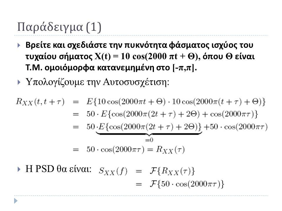 Παράδειγμα (1)  Βρείτε και σχεδιάστε την πυκνότητα φάσματος ισχύος του τυχαίου σήματος Χ(t) = 10 cos(2000 πt + Θ), όπου Θ είναι Τ. Μ. ομοιόμορφα κατα