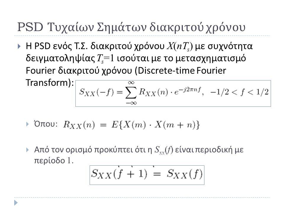 PSD Τυχαίων Σημάτων διακριτού χρόνου  H PSD ενός Τ. Σ. διακριτού χρόνου X(nT s ) με συχνότητα δειγματοληψίας T s =1 ισούται με το μετασχηματισμό Four