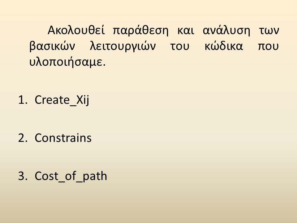 Ακολουθεί παράθεση και ανάλυση των βασικών λειτουργιών του κώδικα που υλοποιήσαμε. 1.Create_Xij 2.Constrains 3.Cost_of_path