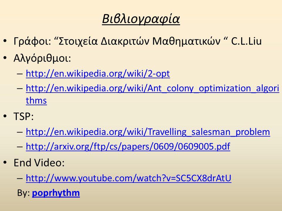 Βιβλιογραφία • Γράφοι: Στοιχεία Διακριτών Μαθηματικών C.L.Liu • Αλγόριθμοι: – http://en.wikipedia.org/wiki/2-opt http://en.wikipedia.org/wiki/2-opt – http://en.wikipedia.org/wiki/Ant_colony_optimization_algori thms http://en.wikipedia.org/wiki/Ant_colony_optimization_algori thms • TSP: – http://en.wikipedia.org/wiki/Travelling_salesman_problem http://en.wikipedia.org/wiki/Travelling_salesman_problem – http://arxiv.org/ftp/cs/papers/0609/0609005.pdf http://arxiv.org/ftp/cs/papers/0609/0609005.pdf • End Video: – http://www.youtube.com/watch?v=SC5CX8drAtU http://www.youtube.com/watch?v=SC5CX8drAtU By: poprhythmpoprhythm