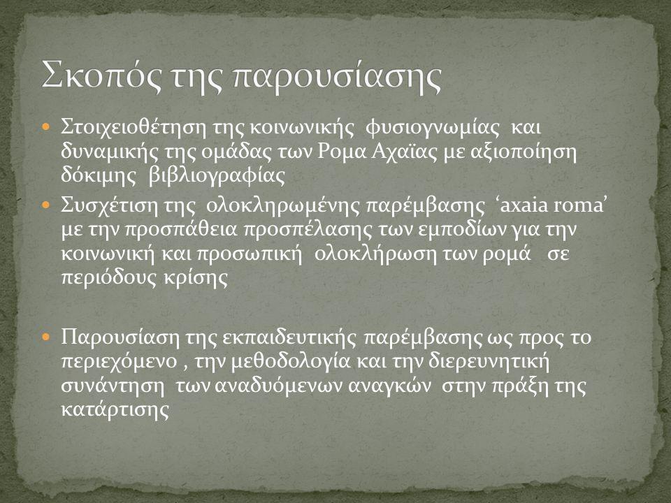  Στοιχειοθέτηση της κοινωνικής φυσιογνωμίας και δυναμικής της ομάδας των Ρομα Αχαϊας με αξιοποίηση δόκιμης βιβλιογραφίας  Συσχέτιση της ολοκληρωμένης παρέμβασης 'axaia roma' με την προσπάθεια προσπέλασης των εμποδίων για την κοινωνική και προσωπική ολοκλήρωση των ρομά σε περιόδους κρίσης  Παρουσίαση της εκπαιδευτικής παρέμβασης ως προς το περιεχόμενο, την μεθοδολογία και την διερευνητική συνάντηση των αναδυόμενων αναγκών στην πράξη της κατάρτισης