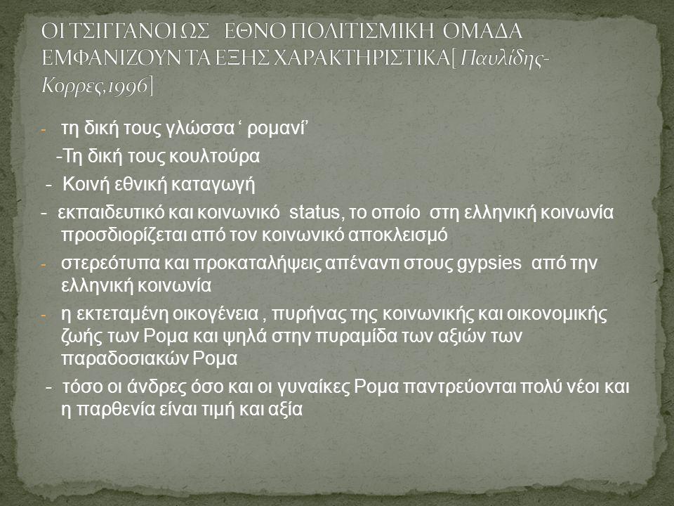 - τη δική τους γλώσσα ' ρομανί' -Τη δική τους κουλτούρα - Κοινή εθνική καταγωγή - εκπαιδευτικό και κοινωνικό status, το οποίο στη ελληνική κοινωνία προσδιορίζεται από τον κοινωνικό αποκλεισμό - στερεότυπα και προκαταλήψεις απέναντι στους gypsies από την ελληνική κοινωνία - η εκτεταμένη οικογένεια, πυρήνας της κοινωνικής και οικονομικής ζωής των Ρομα και ψηλά στην πυραμίδα των αξιών των παραδοσιακών Ρομα - τόσο οι άνδρες όσο και οι γυναίκες Ρομα παντρεύονται πολύ νέοι και η παρθενία είναι τιμή και αξία