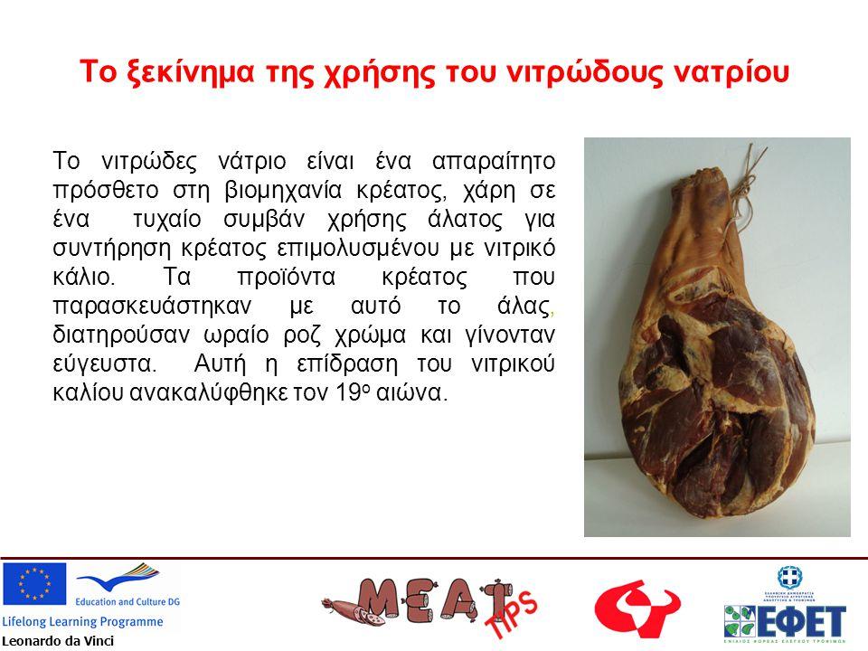 Leonardo da Vinci Το νιτρώδες νάτριο είναι ένα απαραίτητο πρόσθετο στη βιομηχανία κρέατος, χάρη σε ένα τυχαίο συμβάν χρήσης άλατος για συντήρηση κρέατ