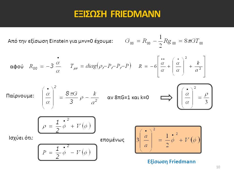 ΕΞΙΣΩΣΗ FRIEDMANN Από την εξίσωση Einstein για μ=ν=0 έχουμε: αφού Παίρνουμε: αν 8πG=1 και k=0 Ισχύει ότι: επομένως Εξίσωση Friedmann 10