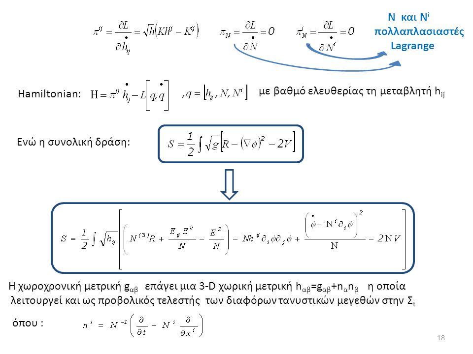 Ενώ η συνολική δράση: Η χωροχρονική μετρική g αβ επάγει μια 3-D χωρική μετρική h αβ =g αβ +n α n β η οποία λειτουργεί και ως προβολικός τελεστής των δ