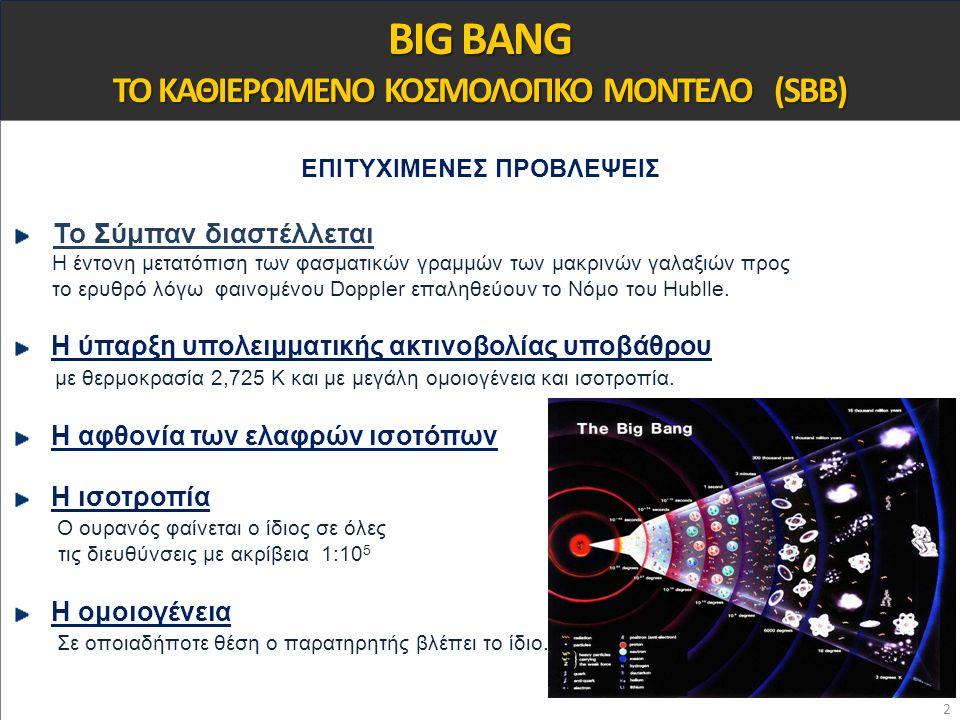 BIG BANG ΤΟ ΚΑΘΙΕΡΩΜΕΝΟ ΚΟΣΜΟΛΟΓΙΚΟ ΜΟΝΤΕΛΟ (SBB) ΕΠΙΤΥΧΙΜΕΝΕΣ ΠΡΟΒΛΕΨΕΙΣ Το Σύμπαν διαστέλλεται Η έντονη μετατόπιση των φασματικών γραμμών των μακριν