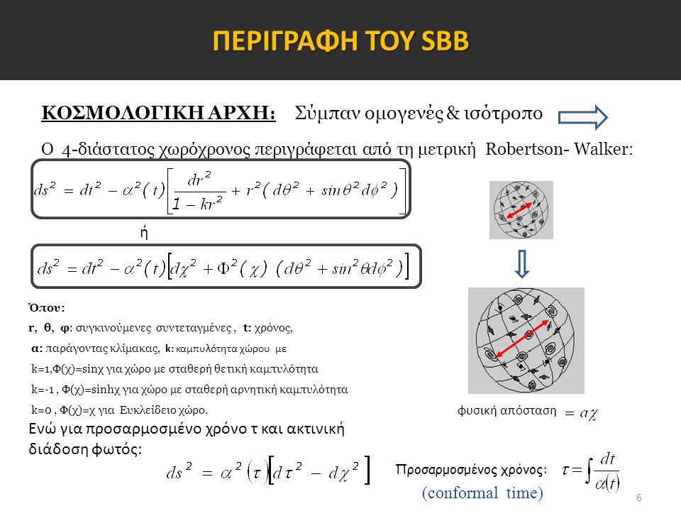 7 ΠΛΗΘΩΡΙΣΤΙΚΟ ΣΕΝΑΡΙΟ Το Σύμπαν διαστέλλεται εκθετικά με επιταχυνόμενο ρυθμό Για την έναρξη του Πληθωρισμού απαιτείται αρνητική πίεση Το βαθμωτό πεδίο φ=φ(t) που την προσφέρει ονομάζεται inflaton με αντίστοιχο δυναμικό V(φ) Συνολική δράση βαθμωτού – βαρυτικού πεδίου: Lagrangian πυκνότητα: Τανυστής ενέργειας-ορμής: Εξίσωση κίνησης: