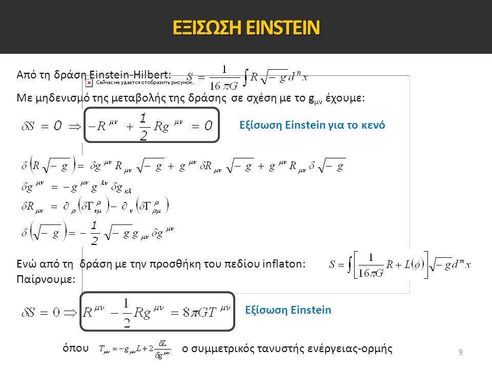 Από τη δράση Einstein-Hilbert: Με μηδενισμό της μεταβολής της δράσης σε σχέση με το g μν έχουμε: Εξίσωση Einstein για το κενό Ενώ από τη δράση με την