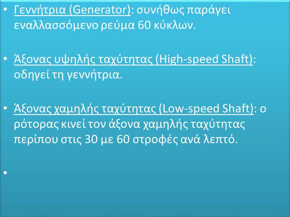 • Γεννήτρια (Generator): συνήθως παράγει εναλλασσόμενο ρεύμα 60 κύκλων. • Άξονας υψηλής ταχύτητας (High-speed Shaft): οδηγεί τη γεννήτρια. • Άξονας χα