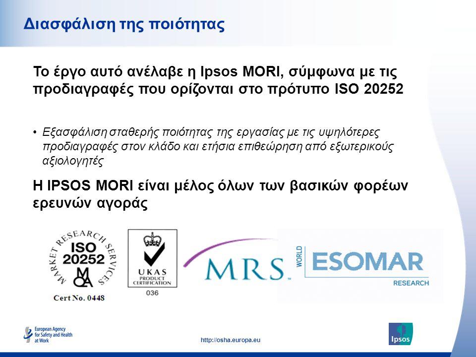 53 http://osha.europa.eu Το έργο αυτό ανέλαβε η Ipsos MORI, σύμφωνα με τις προδιαγραφές που ορίζονται στο πρότυπο ISO 20252 Διασφάλιση της ποιότητας Η