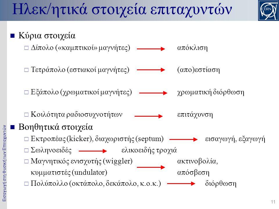 Εισαγωγή στη Φυσική των Επιταχυντών 11  Κύρια στοιχεία  Δίπολο («καμπτικοί» μαγνήτες) απόκλιση  Τετράπολο (εστιακοί μαγνήτες)(απο)εστίαση  Εξάπολο