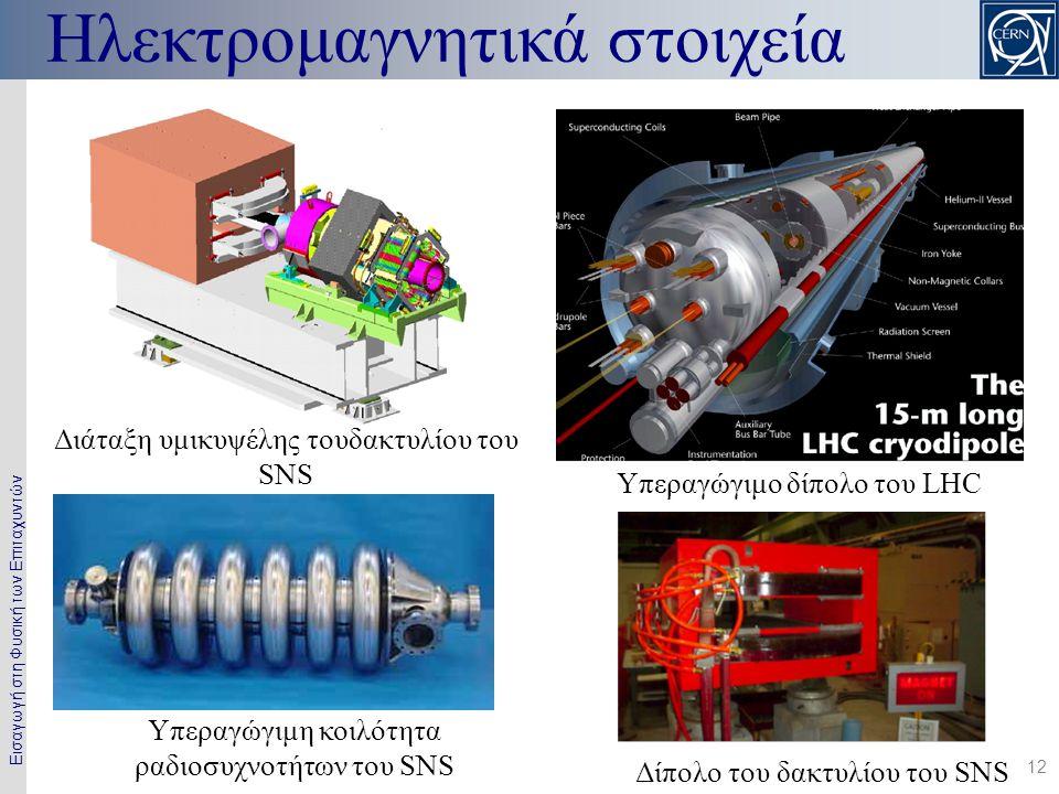 Εισαγωγή στη Φυσική των Επιταχυντών 12 Ηλεκτρομαγνητικά στοιχεία Διάταξη υμικυψέλης τουδακτυλίου του SNS Υπεραγώγιμο δίπολο του LHC Υπεραγώγιμη κοιλότητα ραδιοσυχνοτήτων του SNS Δίπολο του δακτυλίου του SNS