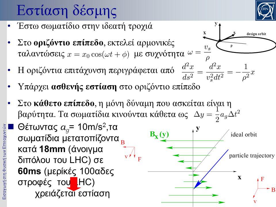Εισαγωγή στη Φυσική των Επιταχυντών 7 Εστίαση δέσμης •Έστω σωματίδιο στην ιδεατή τροχιά •Στο οριζόντιο επίπεδο, εκτελεί αρμονικές ταλαντώσεις με συχνό