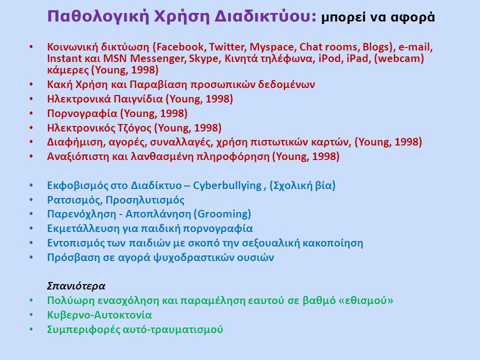 Παθολογική Χρήση Διαδικτύου: μπορεί να αφορά • Κοινωνική δικτύωση (Facebook, Twitter, Myspace, Chat rooms, Blogs), e-mail, Instant και MSN Messenger, Skype, Κινητά τηλέφωνα, iPod, iPad, (webcam) κάμερες (Young, 1998) • Κακή Χρήση και Παραβίαση προσωπικών δεδομένων • Ηλεκτρονικά Παιγνίδια (Young, 1998) • Πορνογραφία (Young, 1998) • Ηλεκτρονικός Τζόγος (Young, 1998) • Διαφήμιση, αγορές, συναλλαγές, χρήση πιστωτικών καρτών, (Young, 1998) • Αναξιόπιστη και λανθασμένη πληροφόρηση (Young, 1998) • Εκφοβισμός στο Διαδίκτυο – Cyberbullying, (Σχολική βία) • Ρατσισμός, Προσηλυτισμός • Παρενόχληση - Αποπλάνηση (Grooming) • Εκμετάλλευση για παιδική πορνογραφία • Εντοπισμός των παιδιών με σκοπό την σεξουαλική κακοποίηση • Πρόσβαση σε αγορά ψυχοδραστικών ουσιών Σπανιότερα • Πολύωρη ενασχόληση και παραμέληση εαυτού σε βαθμό «εθισμού» • Κυβερνο-Αυτοκτονία • Συμπεριφορές αυτό-τραυματισμού