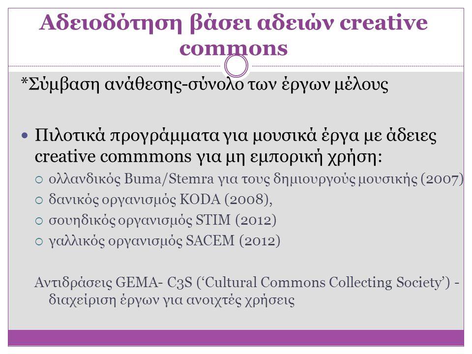 Αδειοδότηση βάσει αδειών creative commons *Σύμβαση ανάθεσης-σύνολο των έργων μέλους  Πιλοτικά προγράμματα για μουσικά έργα με άδειες creative commmon