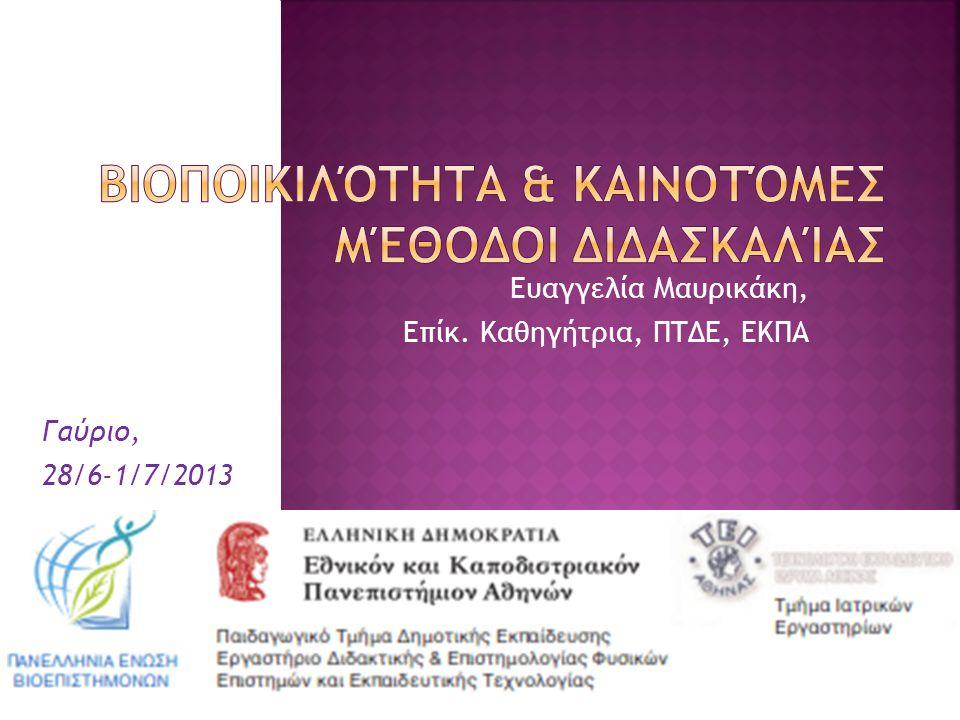 Ευαγγελία Μαυρικάκη, Επίκ. Καθηγήτρια, ΠΤΔΕ, ΕΚΠΑ Γαύριο, 28/6-1/7/2013