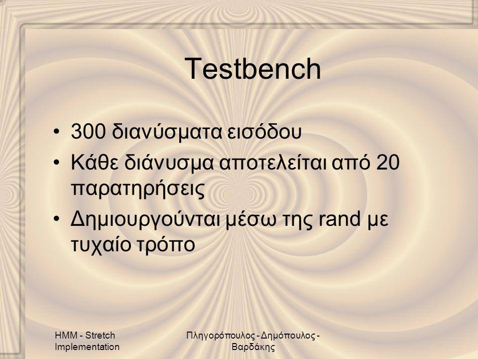 HMM - Stretch Implementation Πληγορόπουλος - Δημόπουλος - Βαρδάκης Testbench •300 διανύσματα εισόδου •Κάθε διάνυσμα αποτελείται από 20 παρατηρήσεις •Δημιουργούνται μέσω της rand με τυχαίο τρόπο