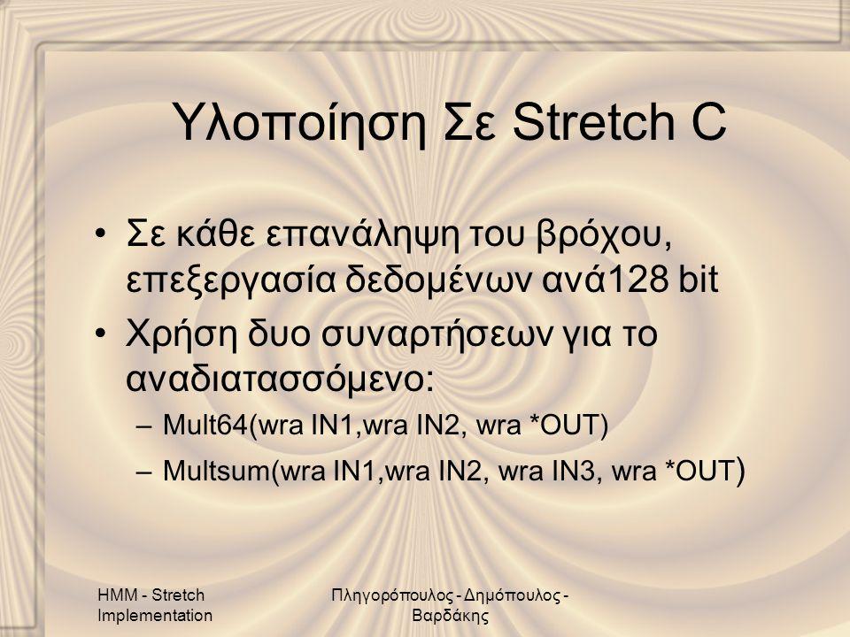 HMM - Stretch Implementation Πληγορόπουλος - Δημόπουλος - Βαρδάκης Υλοποίηση Σε Stretch C •Σε κάθε επανάληψη του βρόχου, επεξεργασία δεδομένων ανά128